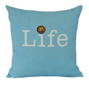 16 inch Life + Ball Word Print Decorative Pillow by
