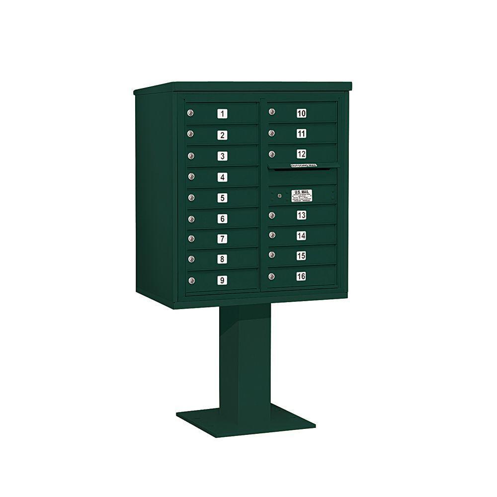 3400 Series Green Mount 4C Pedestal Mailbox with 16 MB1 Doors
