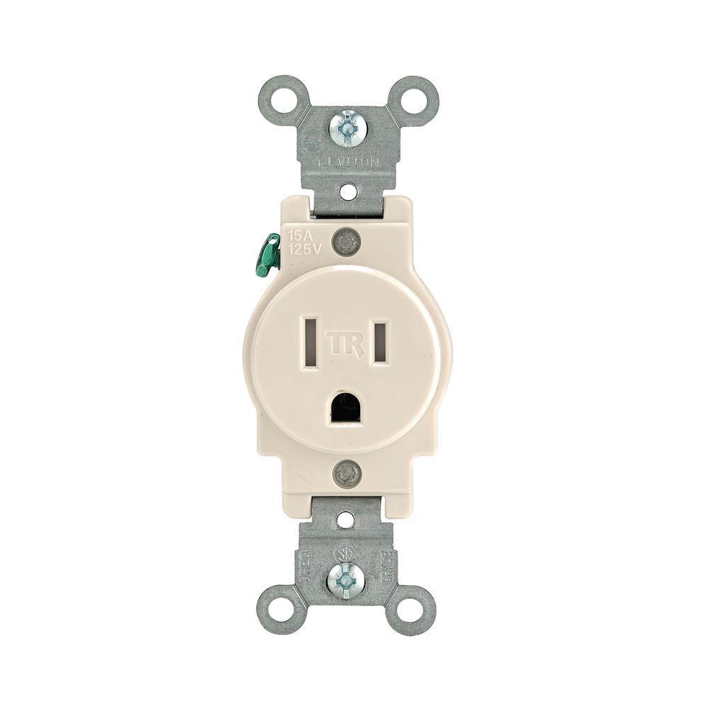 15 Amp  Commercial Grade Tamper Resistant Single Outlet, Light Almond