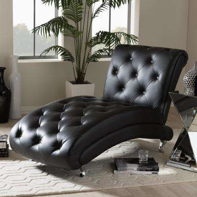Pease Glam Black Faux Leather Upholstered Chaise