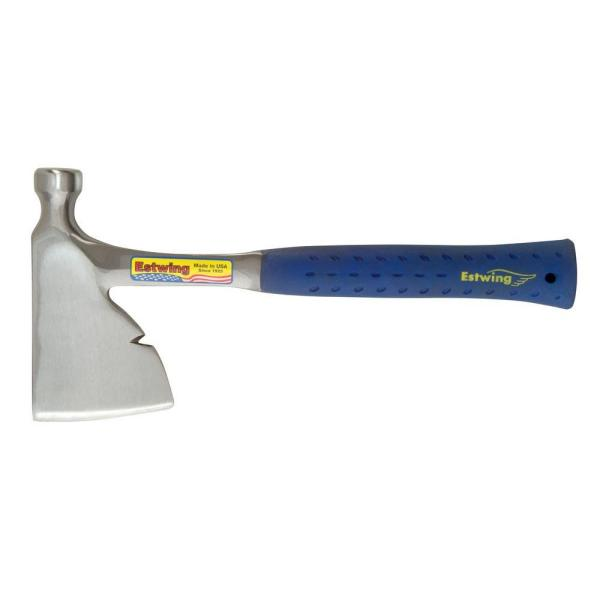 13 in. Solid Steel Carpenter's Hatchet with Blue Vinyl Nylon Shock Reduction Grip