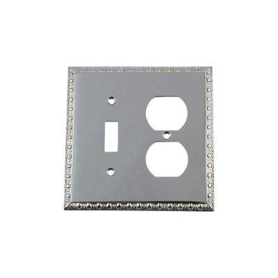 Egg and Dart Switch Plate with Toggle and Outlet in Bright Chrome