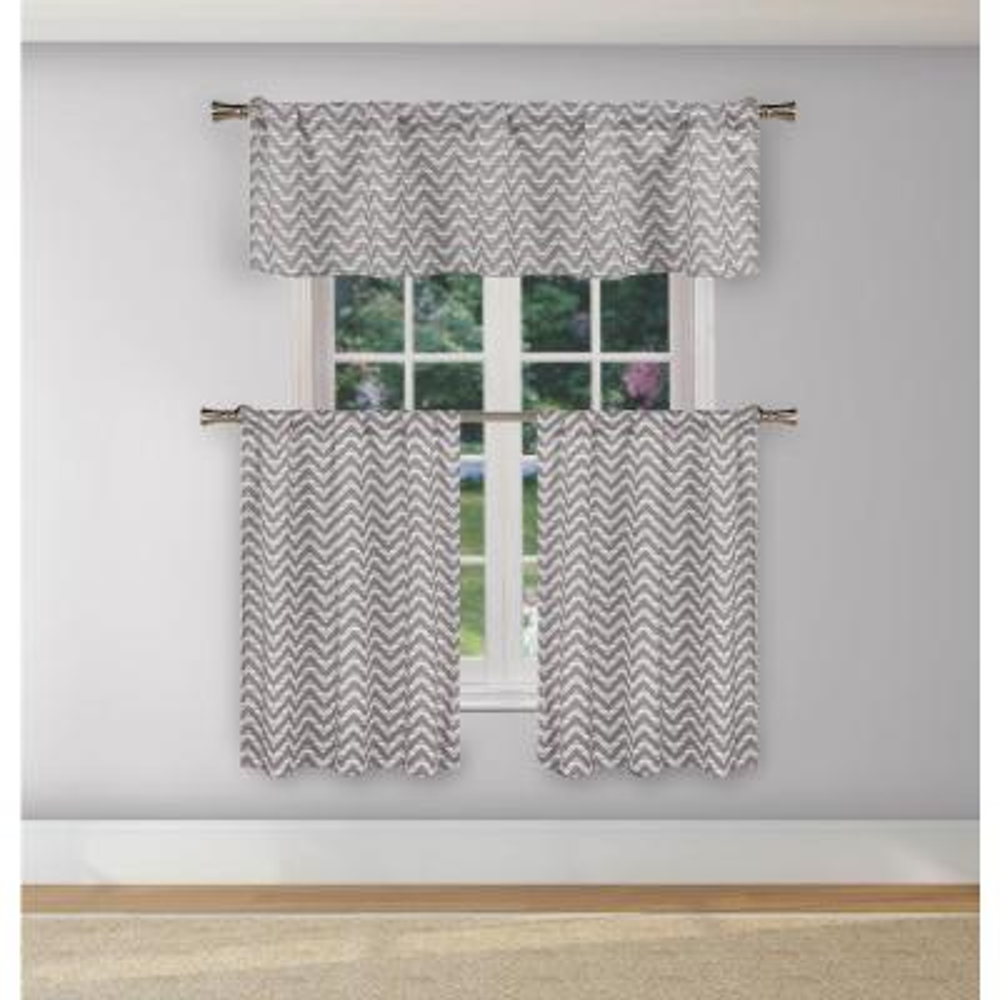 Ayeris Grey Room Darkening Kitchen Curtain Set - 29 in. W x 36 in. L (3-Piece)