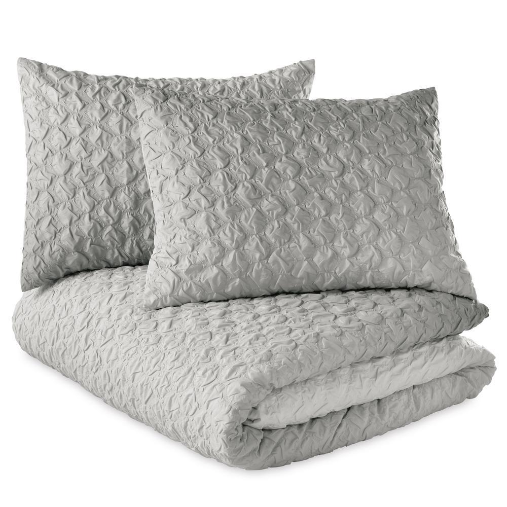 Ombre Honeycomb 2-Piece Grey Twin Duvet Set