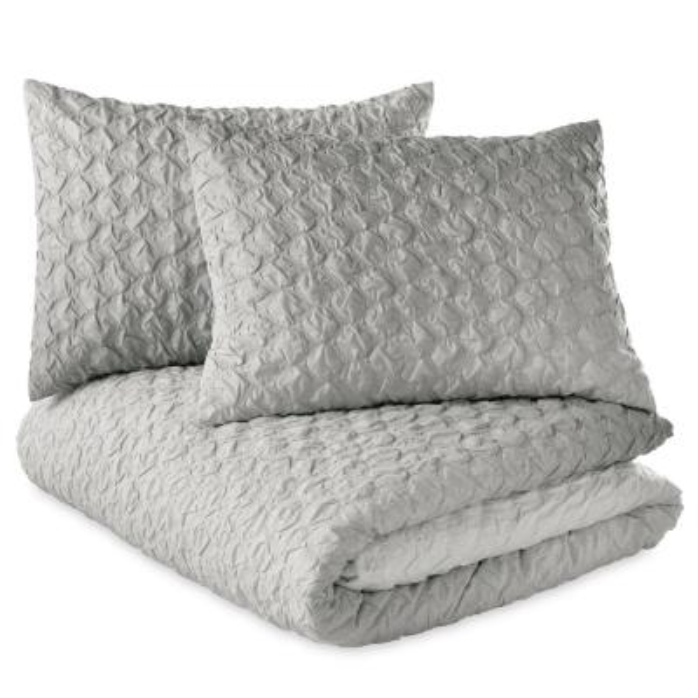 Ombre Honeycomb 3-Piece Grey King Duvet Set