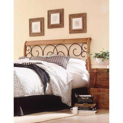 Dunhill Queen Honey Oak Wood Headboard with Sleigh Style Design and Autumn Brown Metal Swirling Scrolls