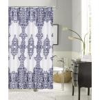 Happy Summer 72 in. Navy Damask Print Shower Curtain