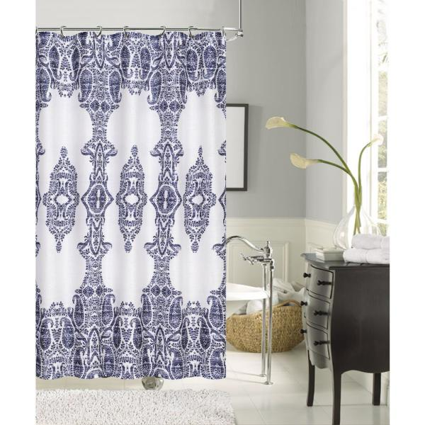 Dainty Home Happy Summer 72 in. Navy Damask Print Shower Curtain