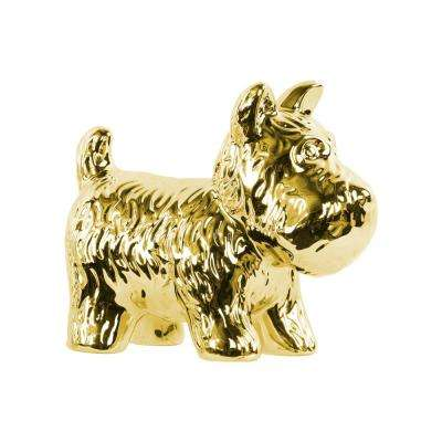 7 in. H Dog Decorative Figurine in Gold Polished Chrome Finish
