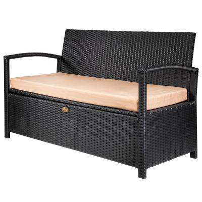 Rattan Crawford 45 Gal. Black Resin Wicker Outdoor Garden Patio Deck Box Storage Bench with Beige Cushions