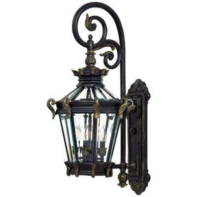Stratford Hall 4-Light Heritage Finish with Gold Highlights Outdoor Wall Lantern Sconce