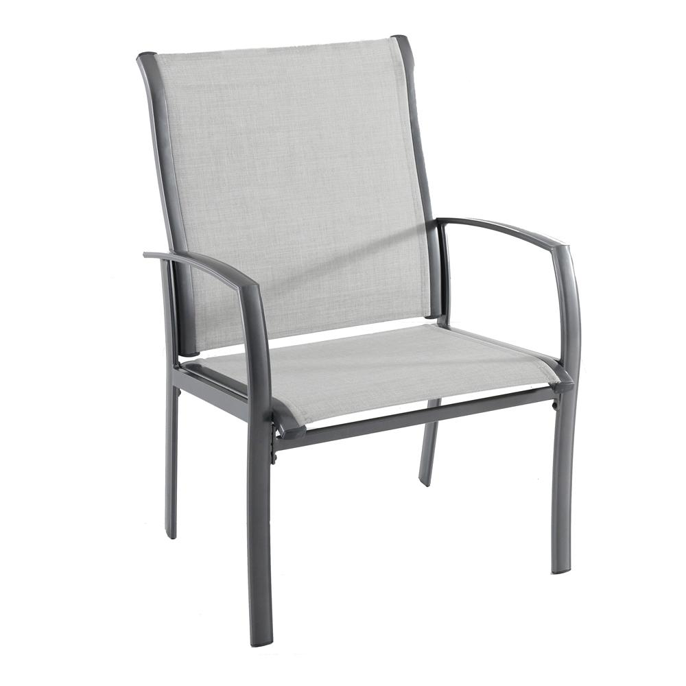 Hampton Bay Commercial Grade Aluminum Oversized Outdoor Dining Chair in Sunbrella Augustine Alloy (2-Pack)