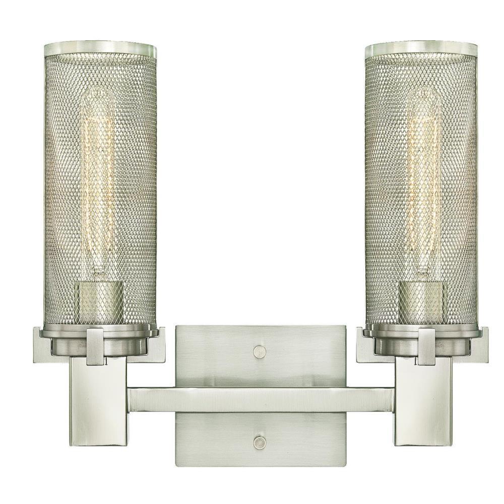 Adler 2-Light Brushed Nickel Wall Mount Bath Light