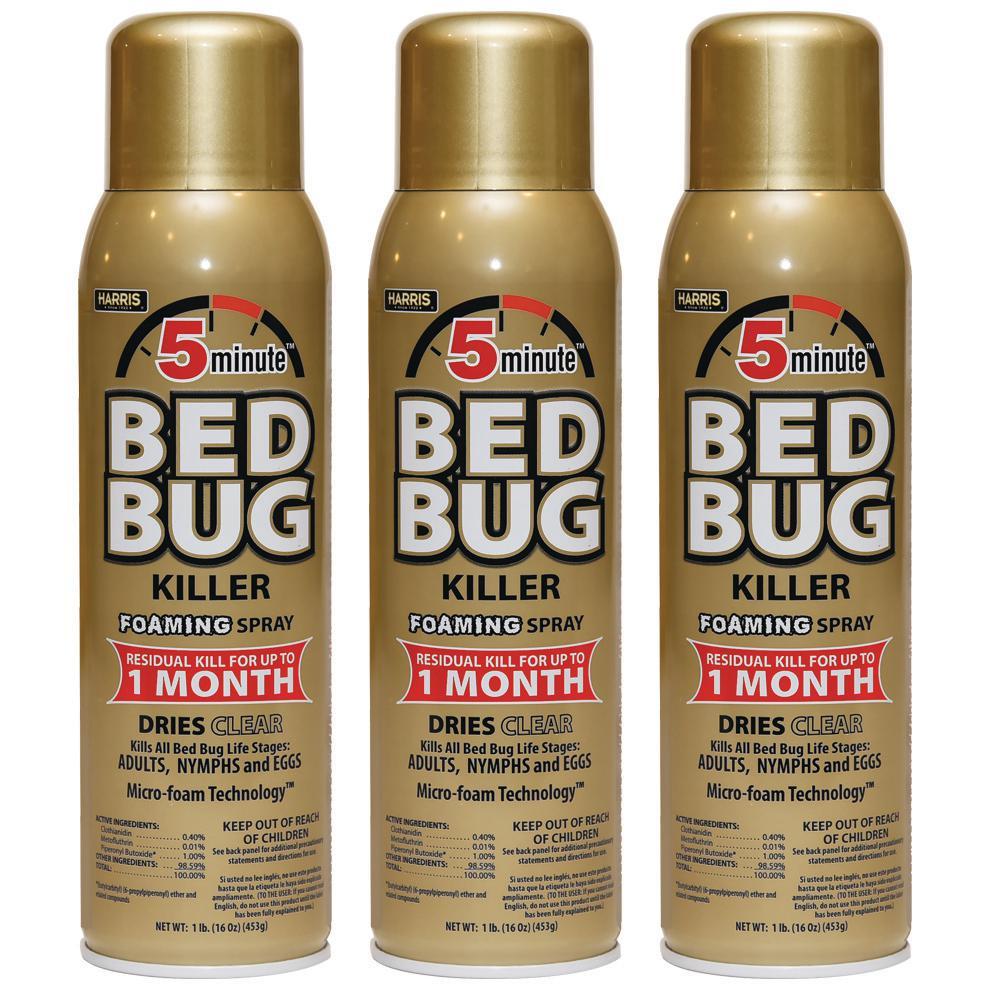 3-Pk Harris 16 oz 5-Minute Bed Bug Killer Foaming Spray/Kills Deals