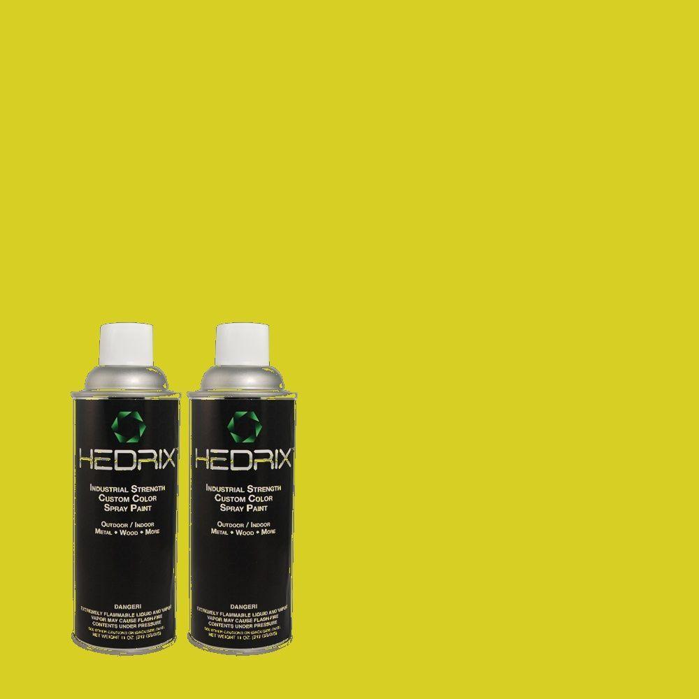 Hedrix 11 oz. Match of S-G-400 Lime Pop Low Lustre Custom Spray Paint (2-Pack)