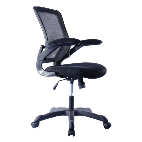 Techni Mobili Black Mesh Task Office Chair With Flip Up Arms Rta 8050 Bk The Home Depot