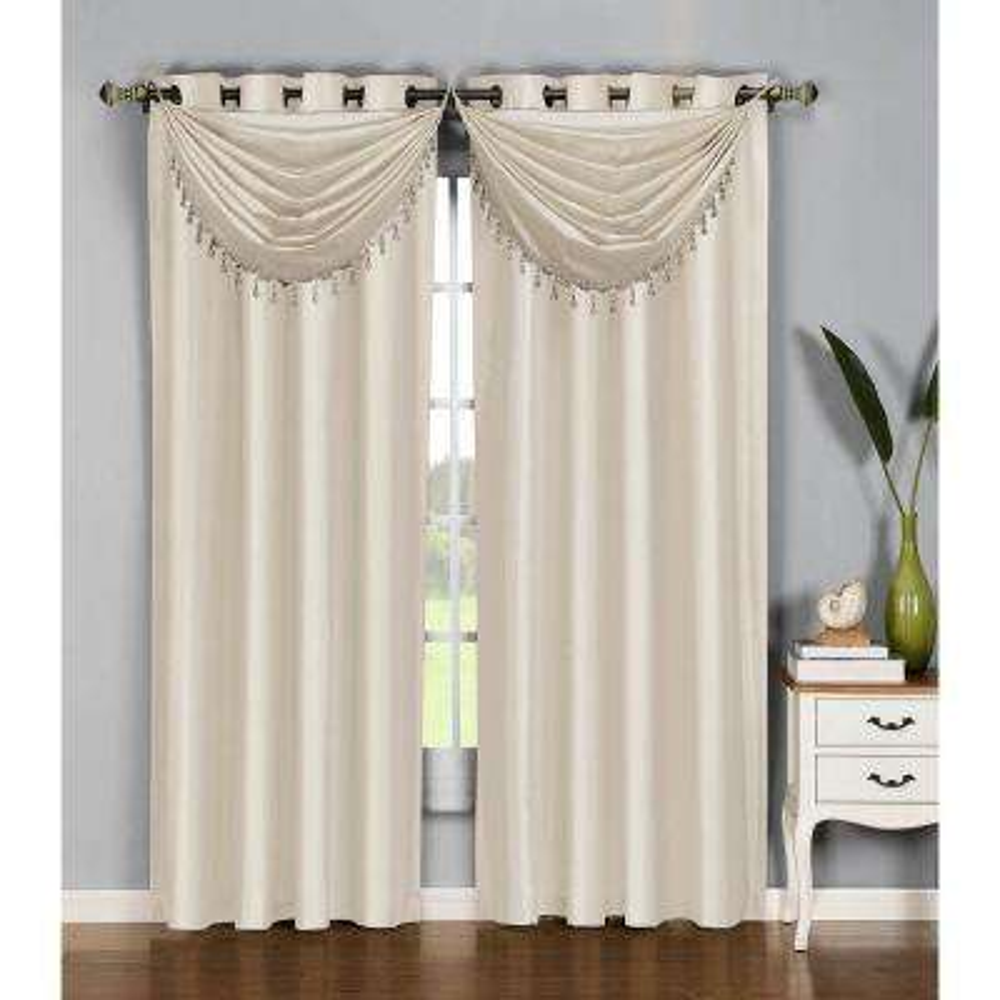 Semi-Opaque Jane Faux Silk 54 in. W x 84 in. L Grommet Extra Wide Curtain Panel in Beige