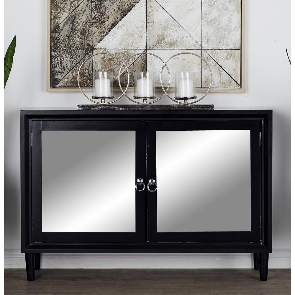 Matte Black Storage Cabinet with Mirror-Inlaid Doors