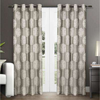 Akola 54 in. W x 96 in. L Jacquard Grommet Top Curtain Panel in Natural (2 Panels)