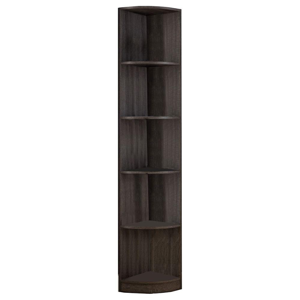 Brown Wooden Corner Display Cabinet with 5-Storage Shelves