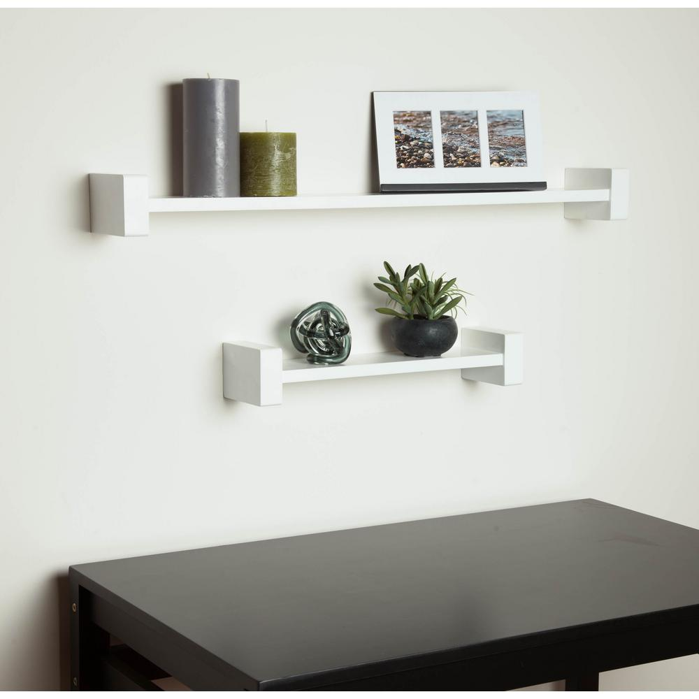 HoneyCanDo 2953 in x 394 in HShape White Wall Shelf