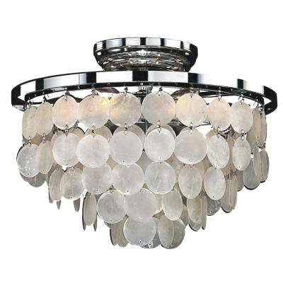 Bayside 6-Light Capiz Shell and Chrome Frame FLush Mount