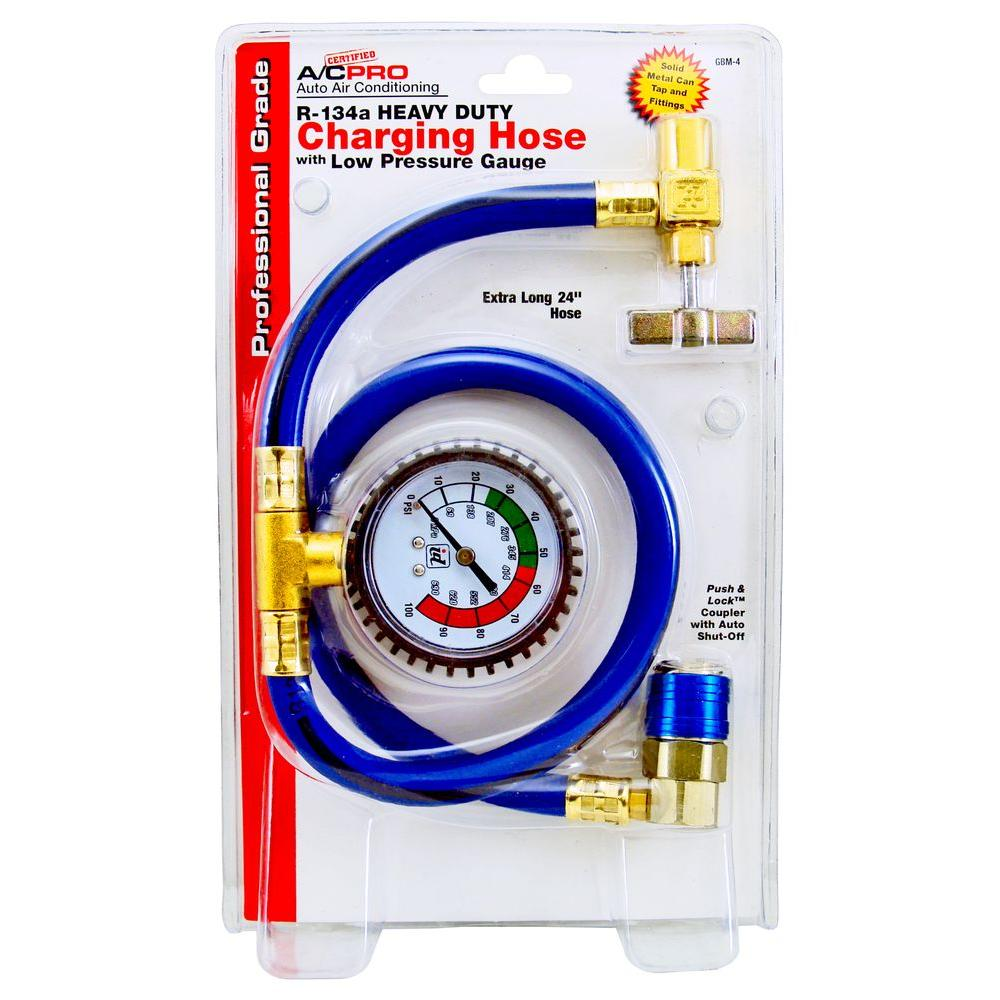 AC Pro 24 in. R-134 Heavy Duty Charging Hose with Low Pressure Gauge
