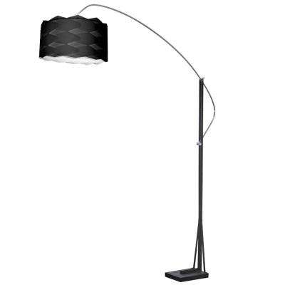 83 in. Polished Chrome Floor Lamp with Black Shade