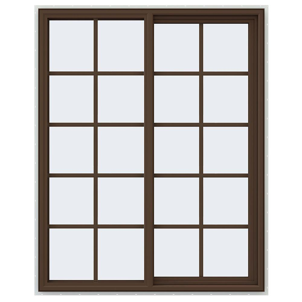JELD-WEN 47.5 in. x 59.5 in. V-4500 Series Right-Hand Sliding Vinyl Window with Grids - Brown