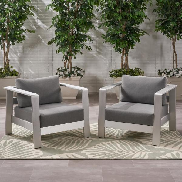 Bayport Silver Removable Cushions Aluminum Outdoor Lounge Chair with Grey Cushions (2-Pack)