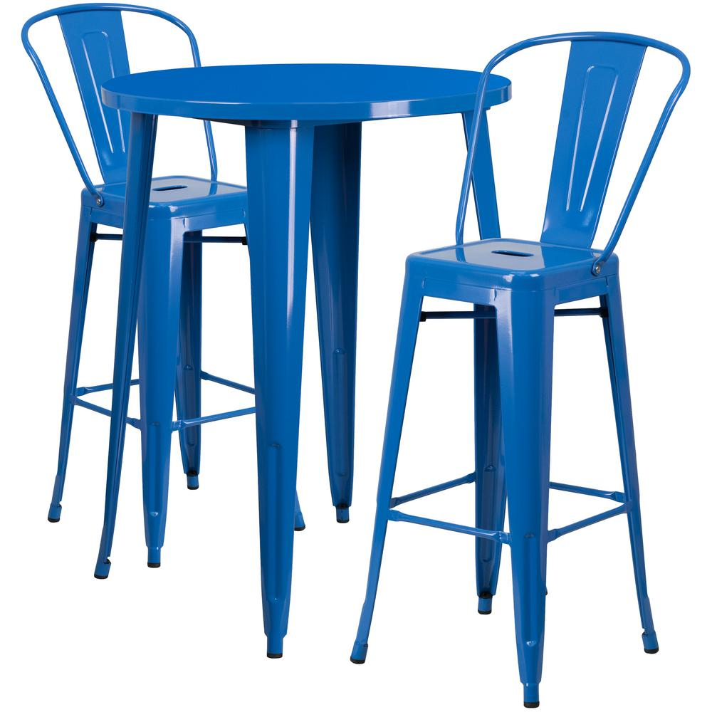 Details About Bistro Set 3 Piece Table Chair Seat Patio Metal Round Outdoor  Bar Height Blue