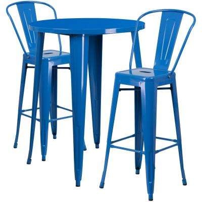 Blue 3-Piece Metal Round Outdoor Bar Height Bistro Set