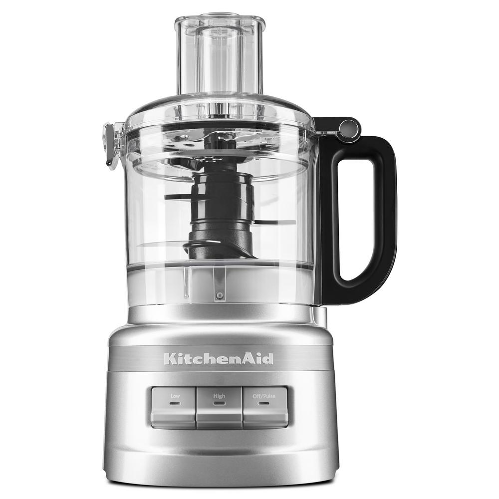 7-Cup Food Processor Easy to Use, Clean and Store. This 7-Cup Food Processor features an innovative design with a one-click, twist-free, bowl assembly and latched lid that is very easy to use and clean. The blade and disc fit inside the bowl to make storage easy.