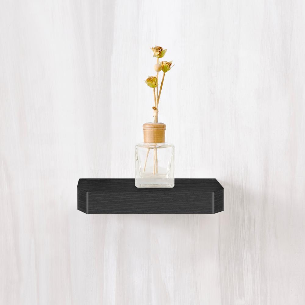 Way Basics Uniq 9.8 in. W x 9.8 in. D zBoard Floating Black Wall Shelf and Decorative Shelf