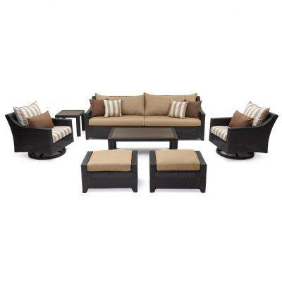 Deco 8-Piece All-Weather Wicker Patio Deluxe Sofa and Club Chair Conversation Set with Maxim Beige Cushions