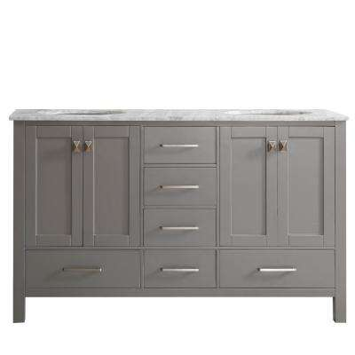 Gela 60 in. W x 22 in. D x 35 in. H Vanity in Grey with Marble Vanity Top in White with Basin