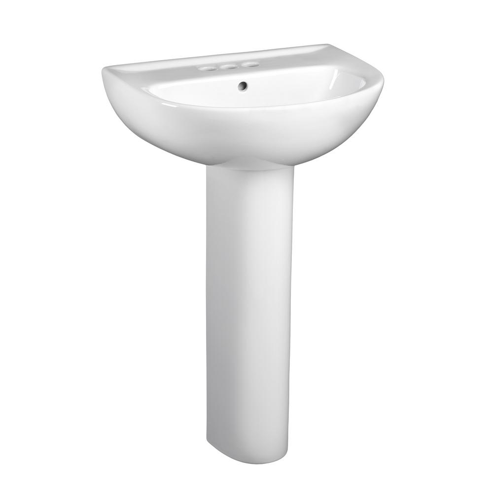 American Standard Evolution Pedestal Combo Bathroom Sink With 4 In Centers In White 0468 400 020 The Home Depot