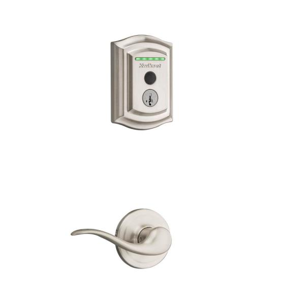 Halo Touch Satin Nickel Traditional Fingerprint WiFi Elect Smart Lock Deadbolt Feat SmartKey Security with Tustin Lever