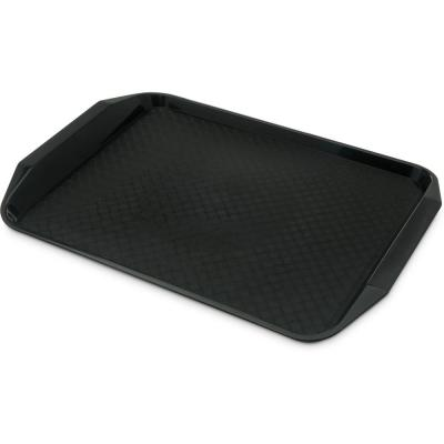 Cafe 12 in. x 0.6 in. x 17 in. Black Polypropylene Fast Food Cafeteria Tray with Handle (24-Pack)