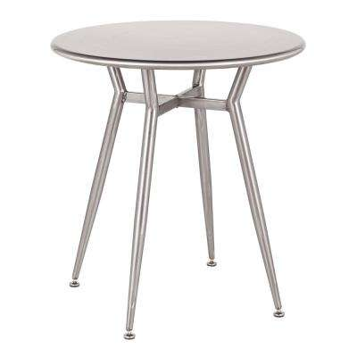 Clara Round Brushed Silver Metal Dinette Table