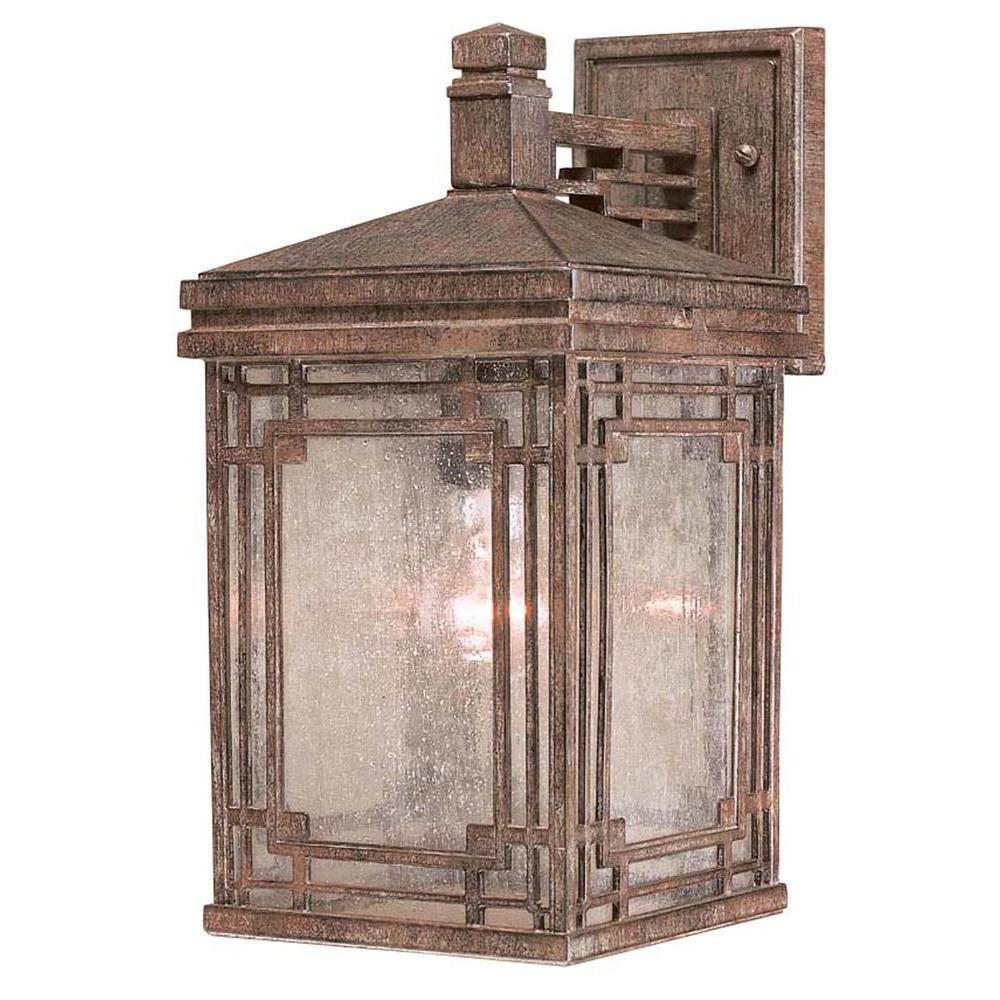 Hampton Bay 1-Light Vintage Rust Larkin Street Outdoor Wall Lantern Sconce