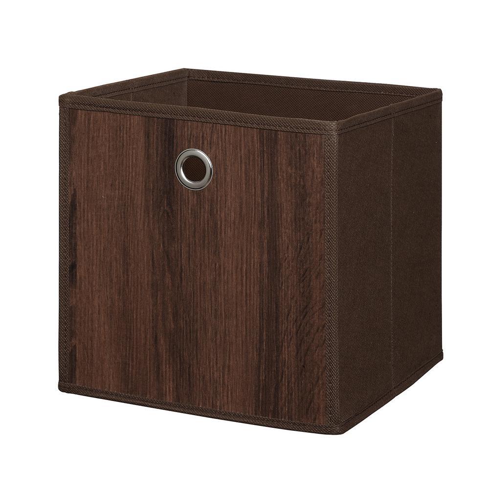 Wood Like 10 in. x 10 in. Brown Fabric Storage Bin (2-Pack)