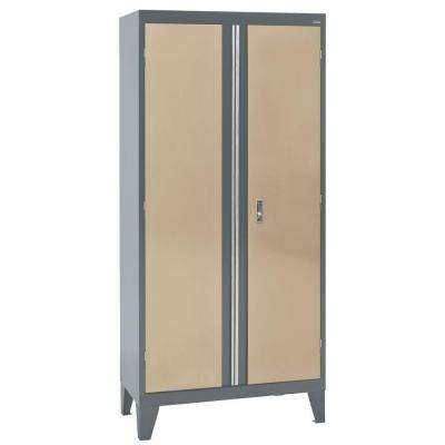 36 in. W x 18 in. D x 79 in. H Modular Steel 2-Door Cabinet, Full Pull in Charcoal/Tropic Sand