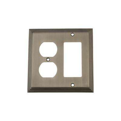 Deco Switch Plate with Rocker and Outlet in Antique Pewter