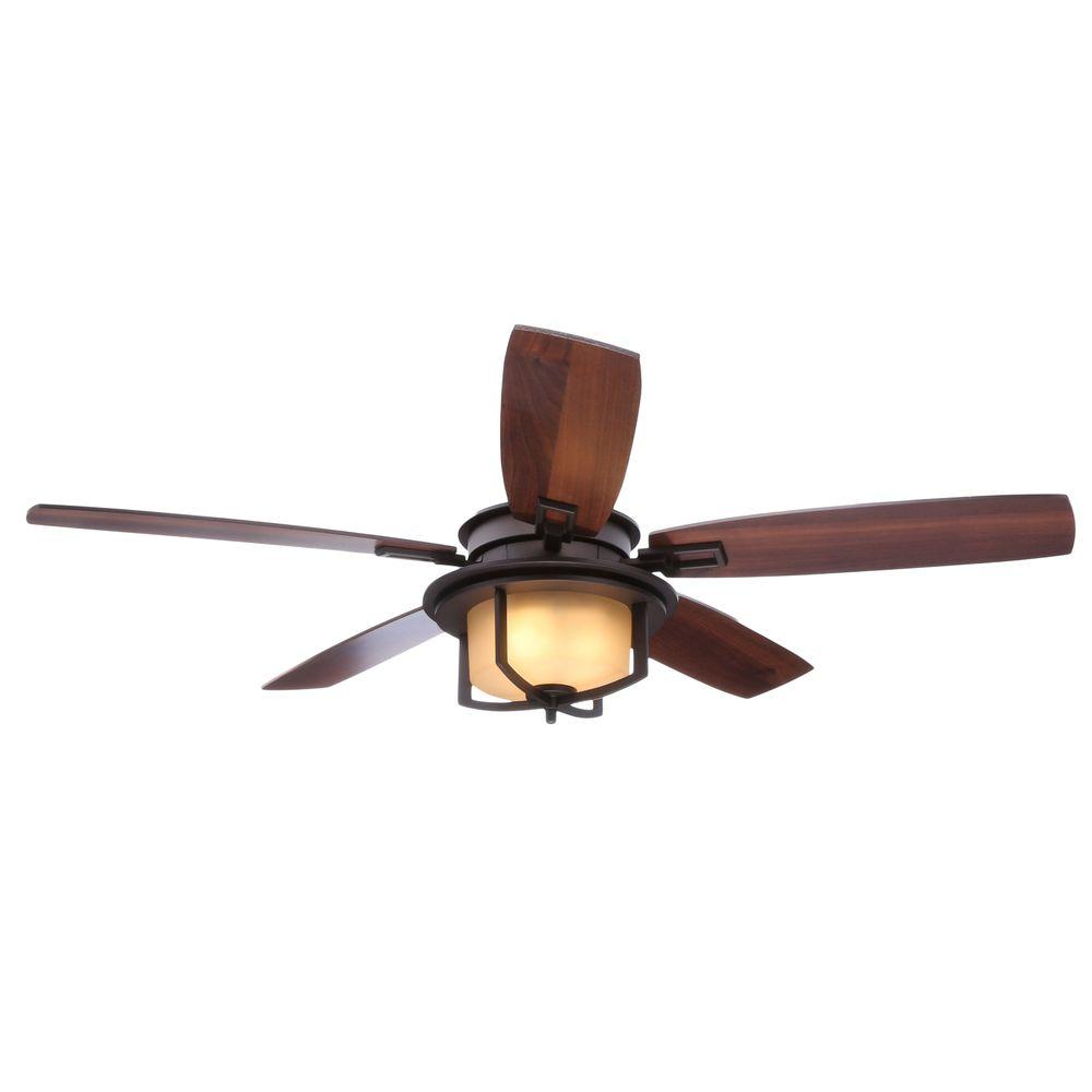 Hampton Bay Devereaux II 52 in. Indoor Oil-Rubbed Bronze Ceiling Fan with Light Kit and Remote Control