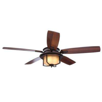Devereaux II 52 in. Indoor Oil-Rubbed Bronze Ceiling Fan with Light Kit and Remote Control
