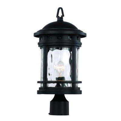 1-Light Black Outdoor Chimney Stack Post Lantern
