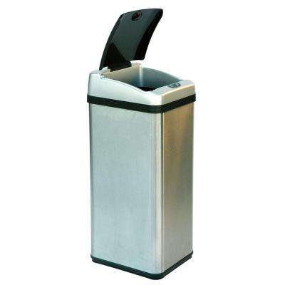 13 Gal. Stainless Steel Square Extra-Wide Lid Opening Motion Sensing Touchless Trash Can