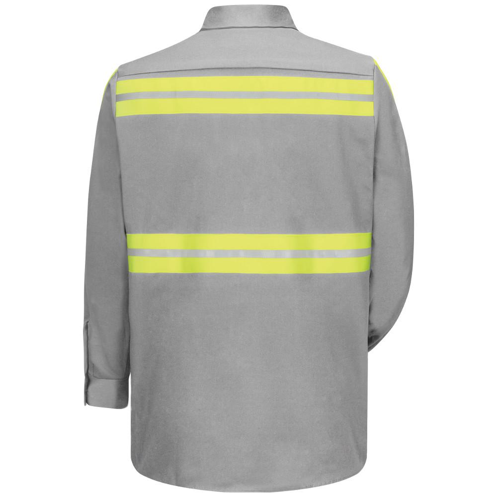 Red Kap Mens 3x Large Grey With Yellow Green Visibility Trim Enhanced Visibility Cotton