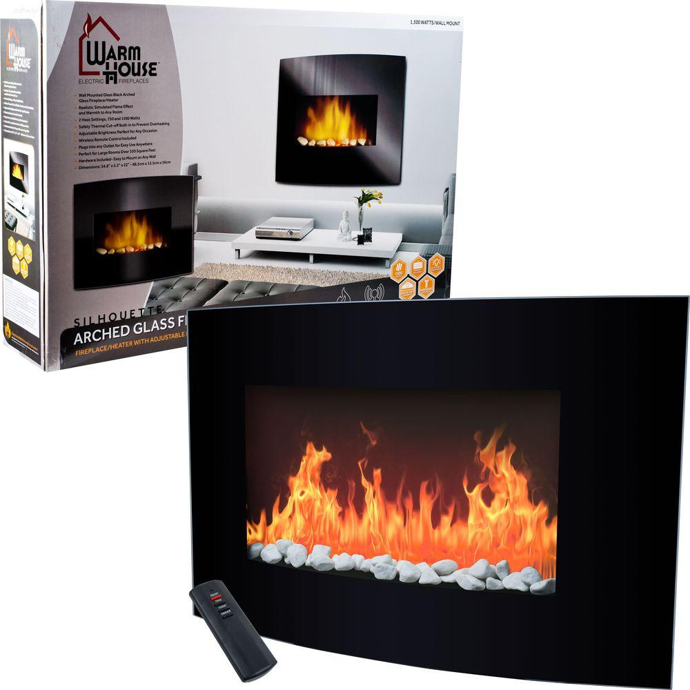 Warm House Arched Glass 34 in. Electric Fireplace in Black-DISCONTINUED
